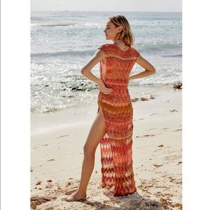 Free People Flames Maxi Tunic Cover Up M/L $300